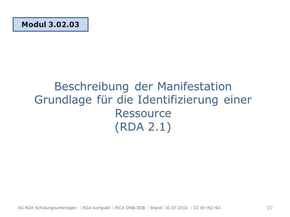 Modul 3.02.03 Beschreibung der Manifestation Grundlage für die Identifizierung einer Ressource (RDA 2.1)