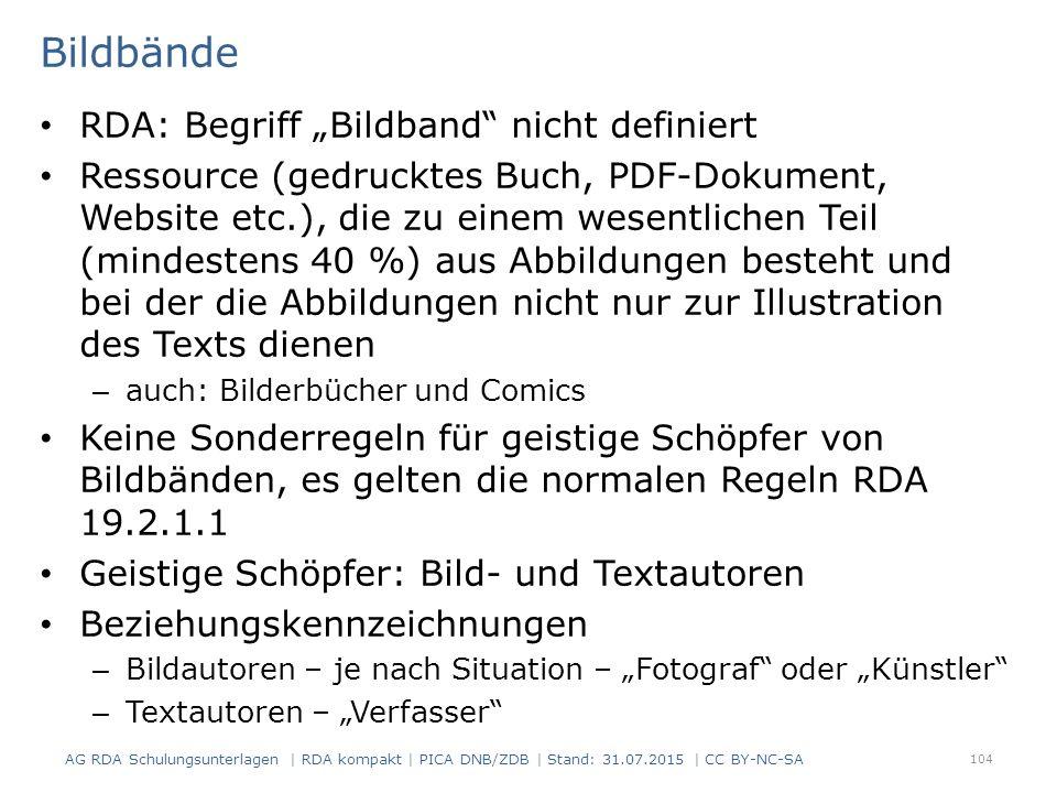 """Bildbände RDA: Begriff """"Bildband nicht definiert"""