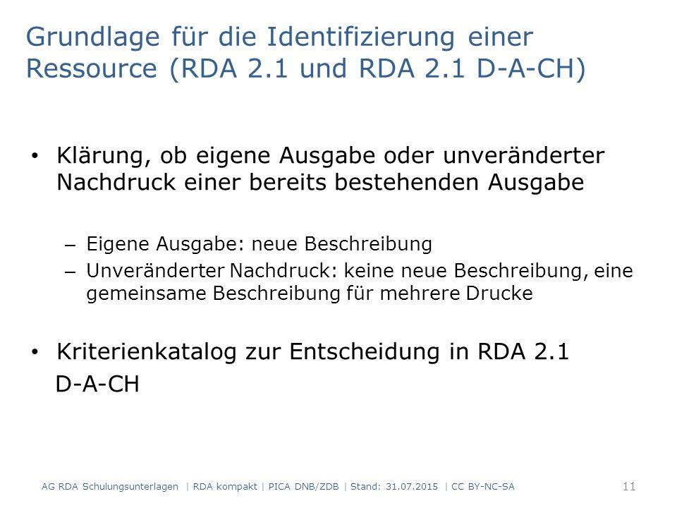 Grundlage für die Identifizierung einer Ressource (RDA 2. 1 und RDA 2
