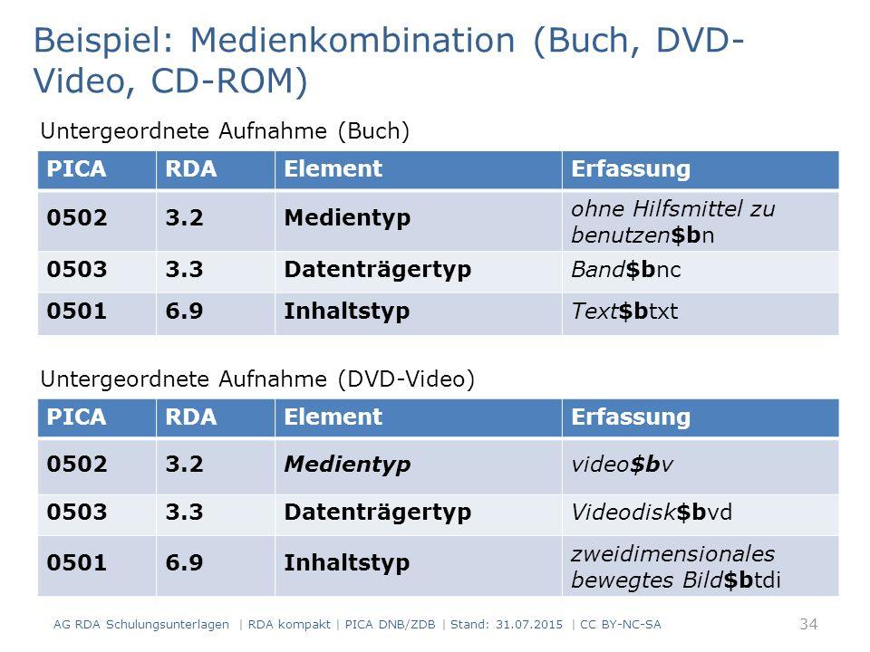 Beispiel: Medienkombination (Buch, DVD-Video, CD-ROM)
