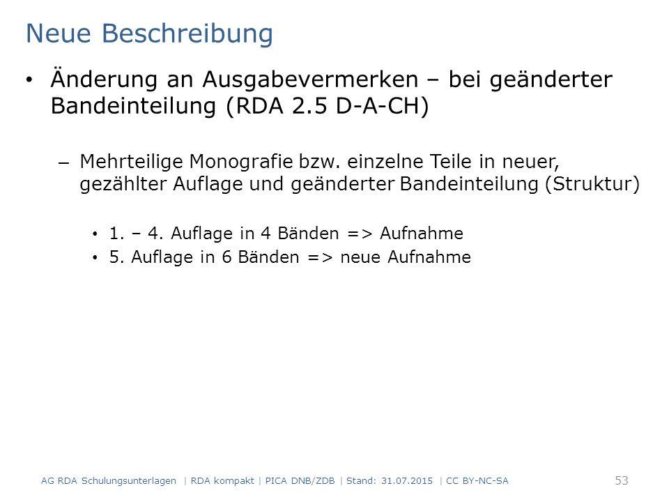 Neue Beschreibung Änderung an Ausgabevermerken – bei geänderter Bandeinteilung (RDA 2.5 D-A-CH)