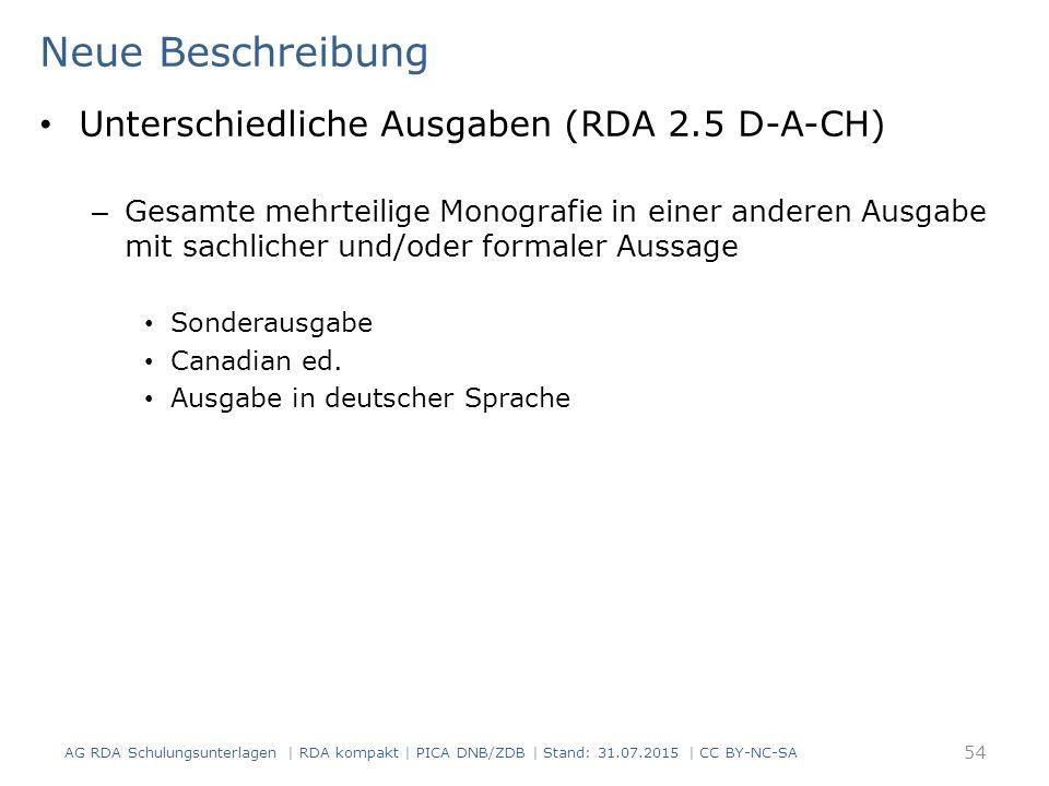 Neue Beschreibung Unterschiedliche Ausgaben (RDA 2.5 D-A-CH)