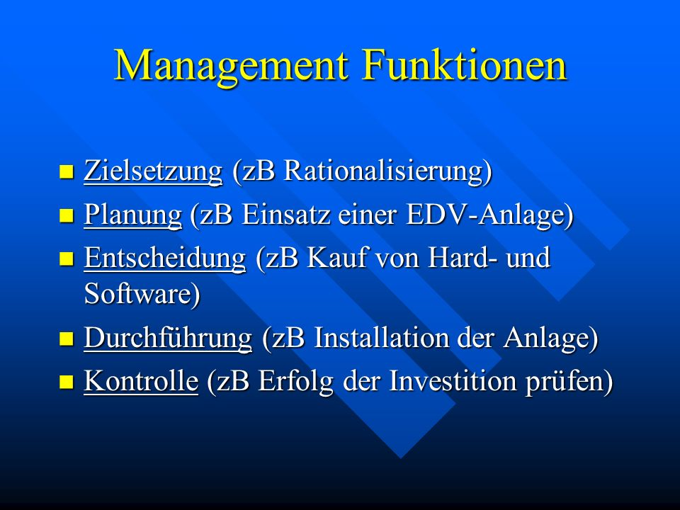 Management Funktionen