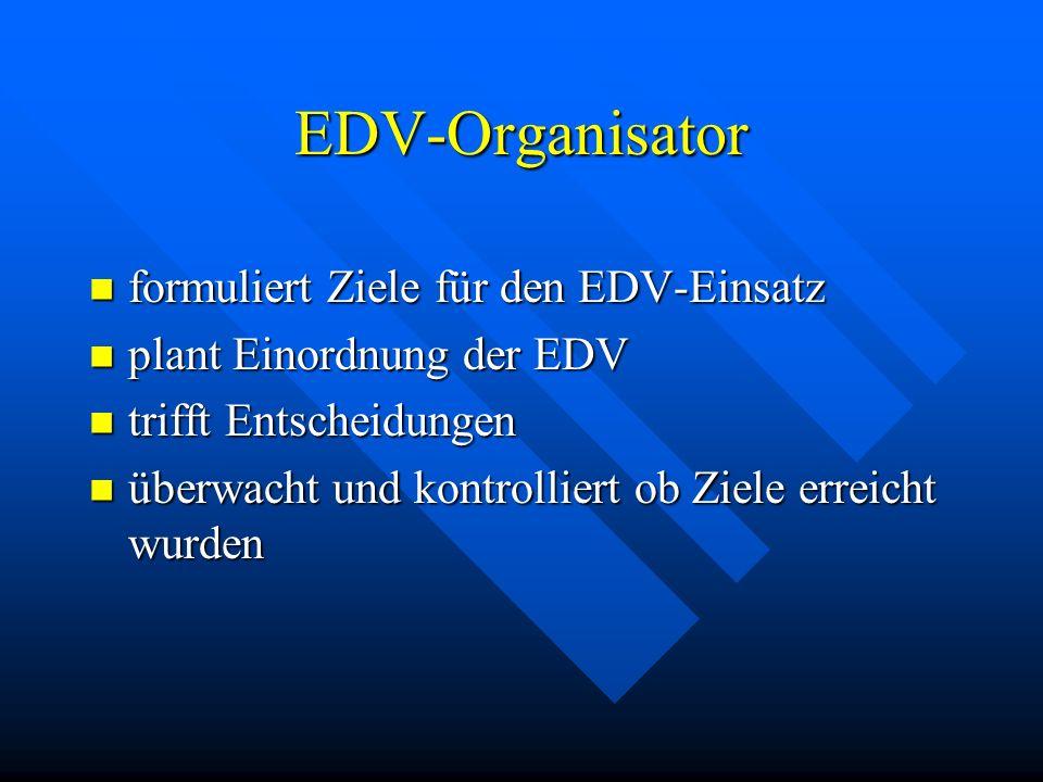 EDV-Organisator formuliert Ziele für den EDV-Einsatz