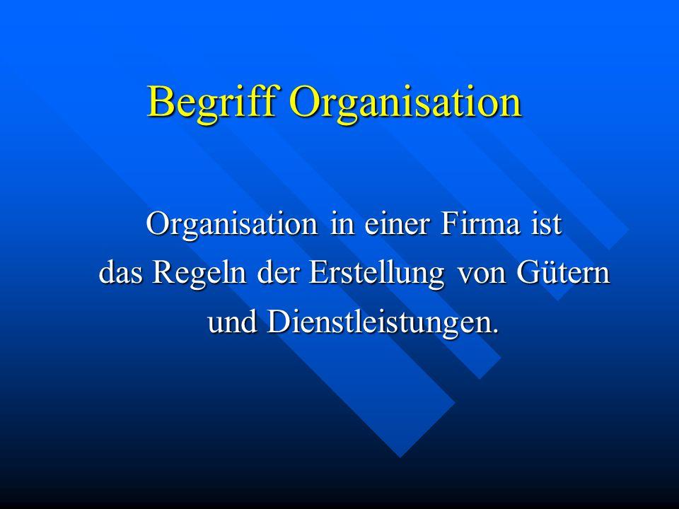 Begriff Organisation Organisation in einer Firma ist