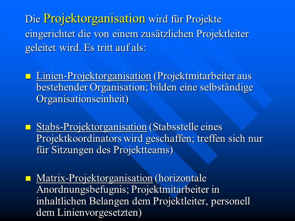 Die Projektorganisation wird für Projekte