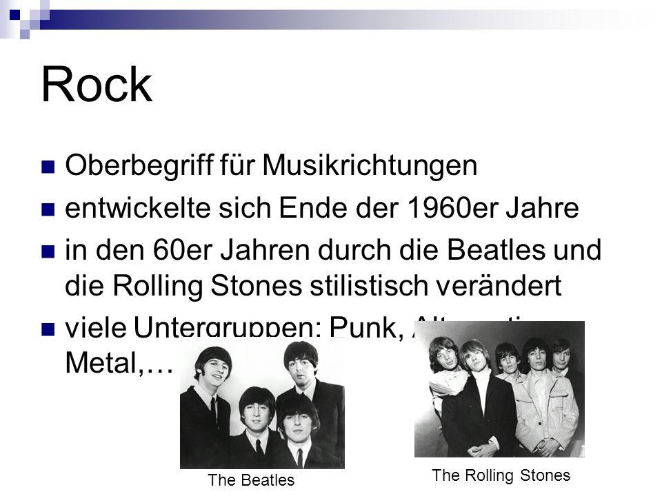 Rock Oberbegriff für Musikrichtungen
