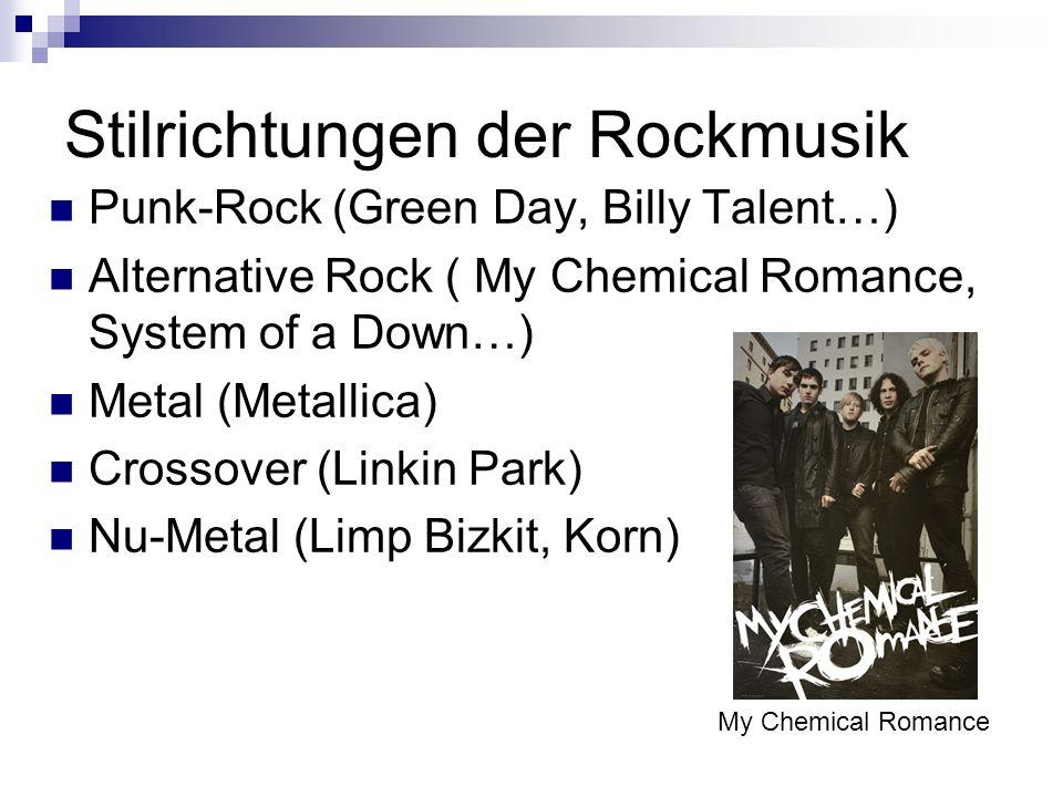 Stilrichtungen der Rockmusik