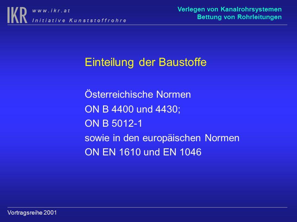 Einteilung der Baustoffe Österreichische Normen