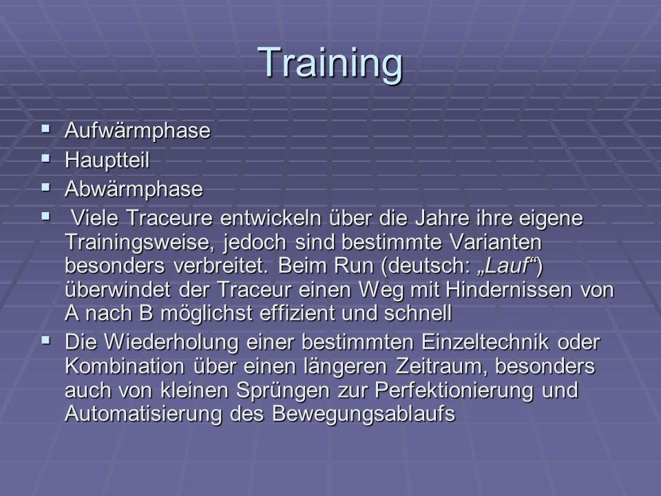 Training Aufwärmphase Hauptteil Abwärmphase