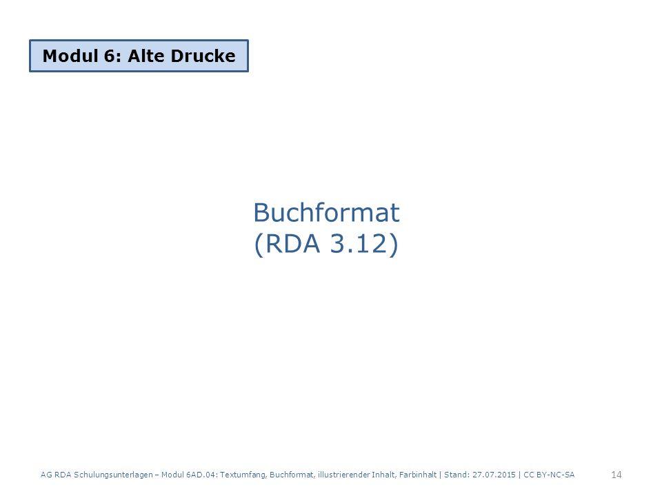 Buchformat (RDA 3.12) Modul 6: Alte Drucke