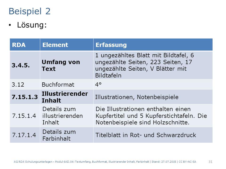 Beispiel 2 Lösung: RDA Element Erfassung 3.4.5. Umfang von Text