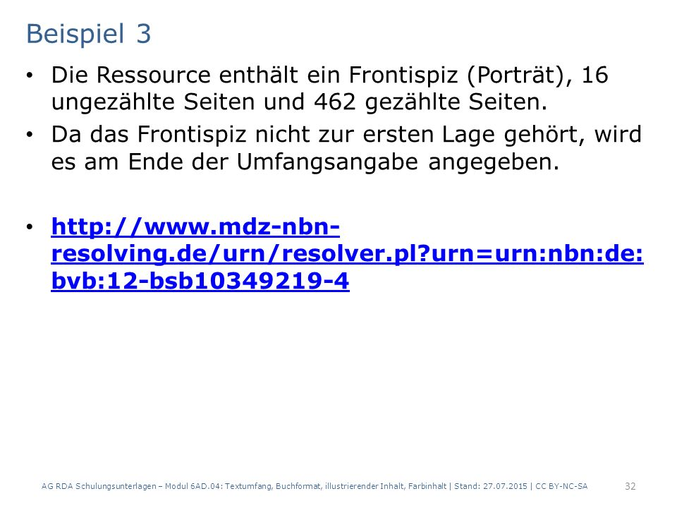 Beispiel 3 Die Ressource enthält ein Frontispiz (Porträt), 16 ungezählte Seiten und 462 gezählte Seiten.
