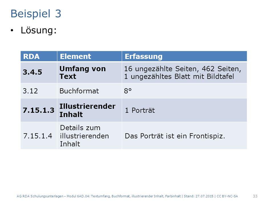 Beispiel 3 Lösung: RDA Element Erfassung 3.4.5 Umfang von Text