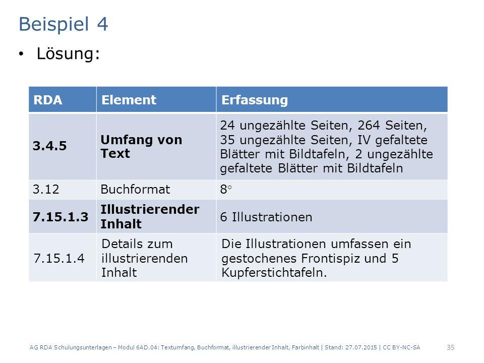 Beispiel 4 Lösung: RDA Element Erfassung 3.4.5 Umfang von Text