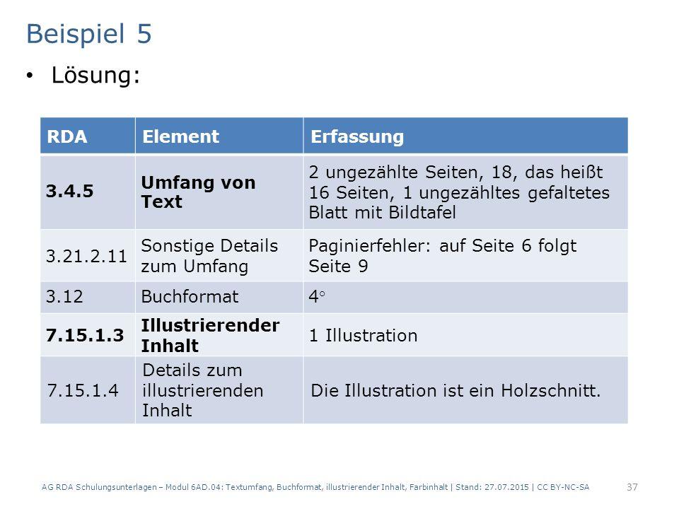 Beispiel 5 Lösung: RDA Element Erfassung 3.4.5 Umfang von Text
