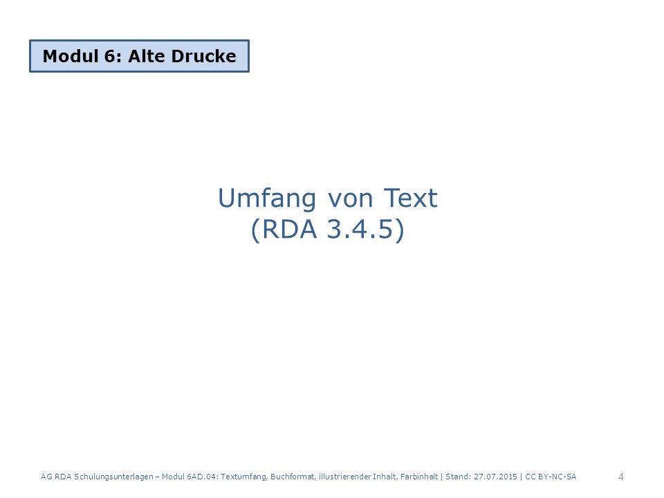 Umfang von Text (RDA 3.4.5) Modul 6: Alte Drucke
