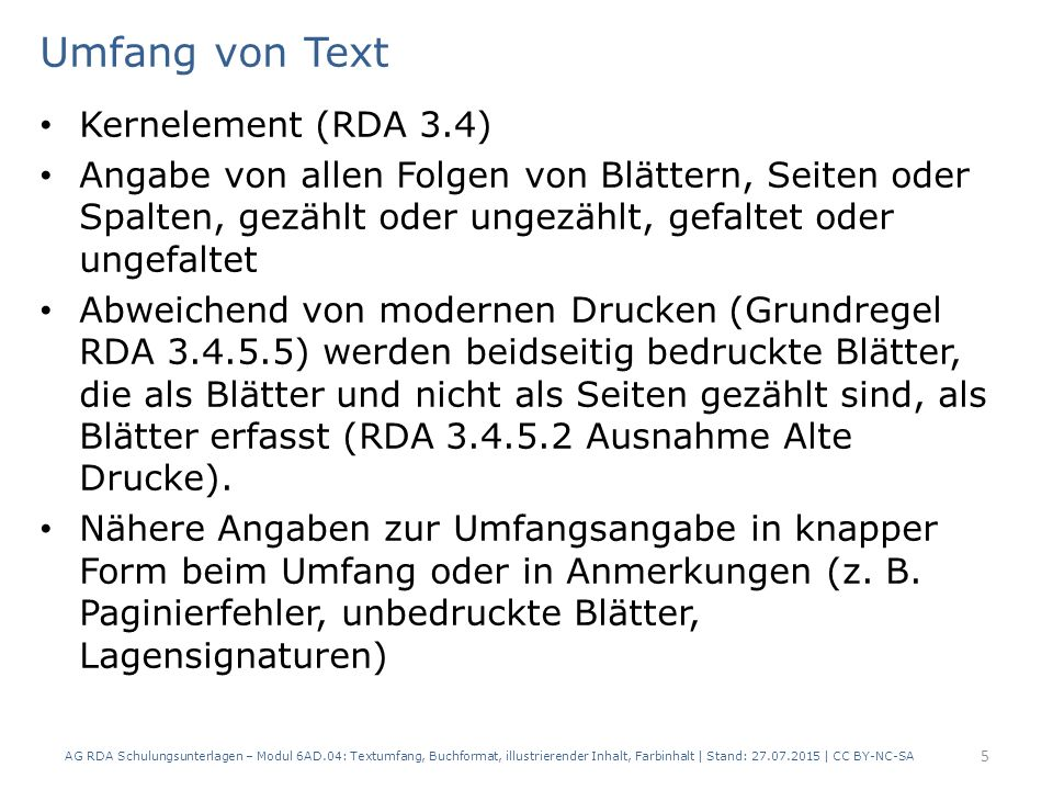 Umfang von Text Kernelement (RDA 3.4)