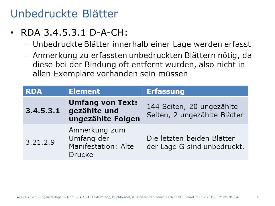 Unbedruckte Blätter RDA 3.4.5.3.1 D-A-CH: