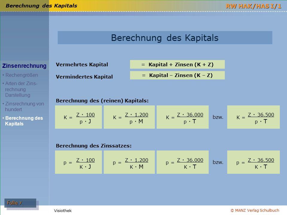 = Kapital + Zinsen (K + Z) = Kapital – Zinsen (K – Z)
