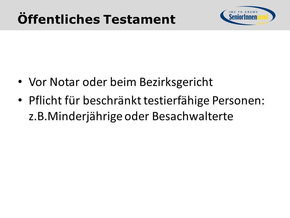 Öffentliches Testament