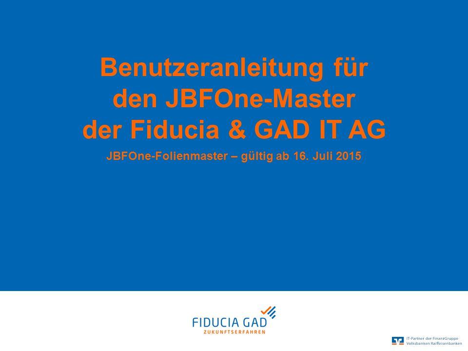 Benutzeranleitung für den JBFOne-Master der Fiducia & GAD IT AG