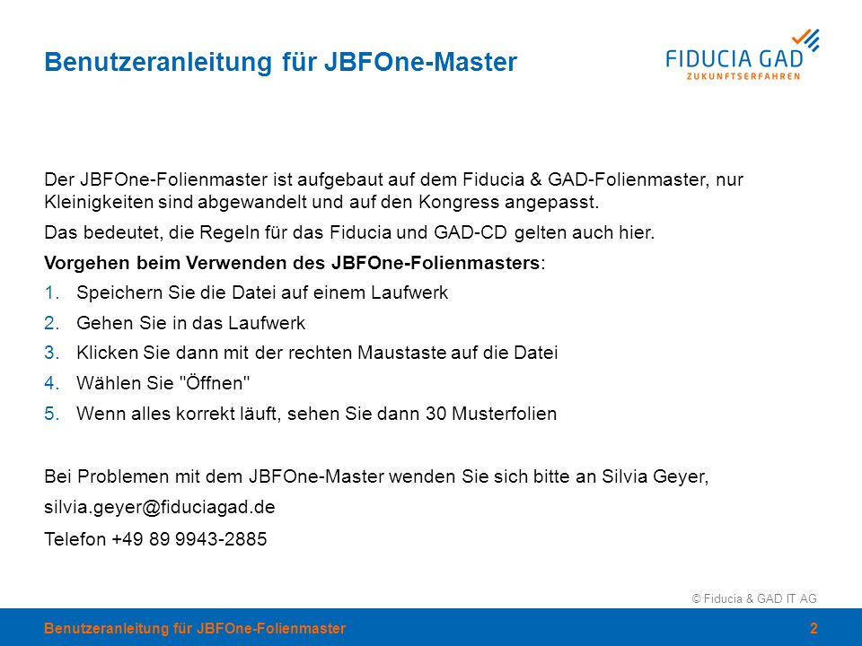 Benutzeranleitung für JBFOne-Master