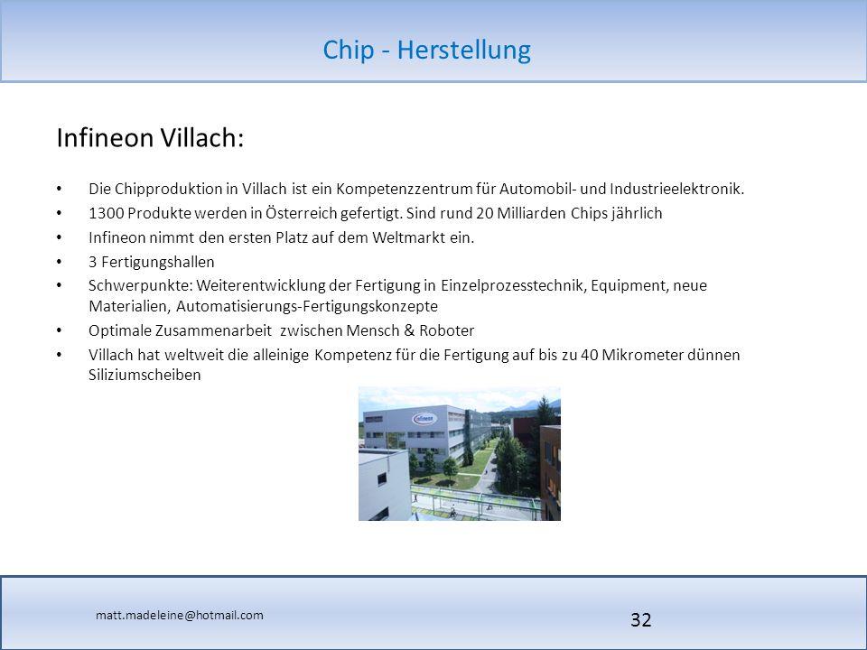 Infineon Villach: Die Chipproduktion in Villach ist ein Kompetenzzentrum für Automobil- und Industrieelektronik.