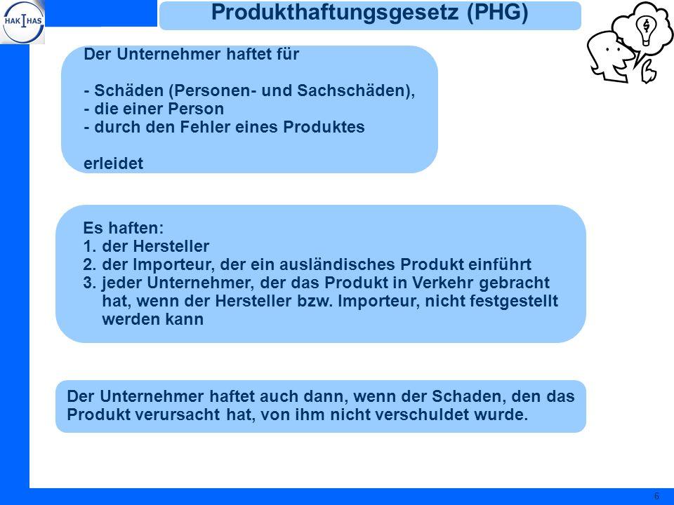 Produkthaftungsgesetz (PHG)