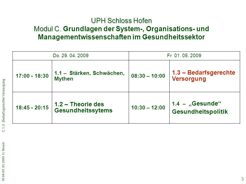 UPH Schloss Hofen Modul C. Grundlagen der System-, Organisations- und Managementwissenschaften im Gesundheitssektor.