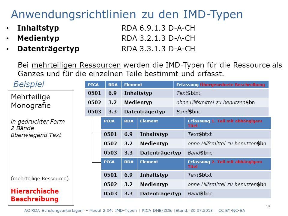 Anwendungsrichtlinien zu den IMD-Typen