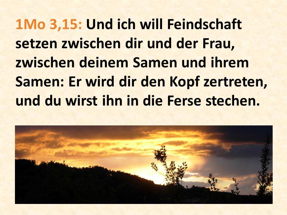 1Mo 3,15: Und ich will Feindschaft setzen zwischen dir und der Frau, zwischen deinem Samen und ihrem Samen: Er wird dir den Kopf zertreten, und du wirst ihn in die Ferse stechen.