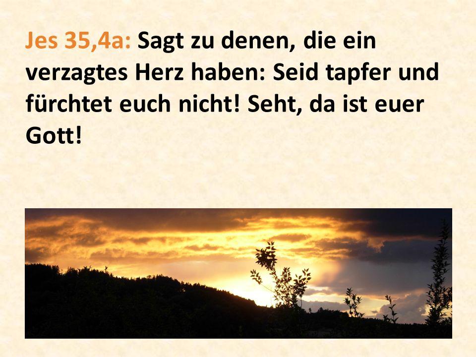 Jes 35,4a: Sagt zu denen, die ein verzagtes Herz haben: Seid tapfer und fürchtet euch nicht.