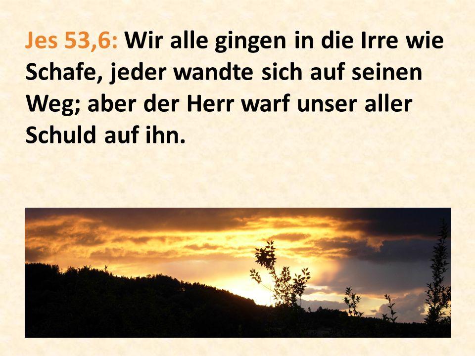 Jes 53,6: Wir alle gingen in die Irre wie Schafe, jeder wandte sich auf seinen Weg; aber der Herr warf unser aller Schuld auf ihn.