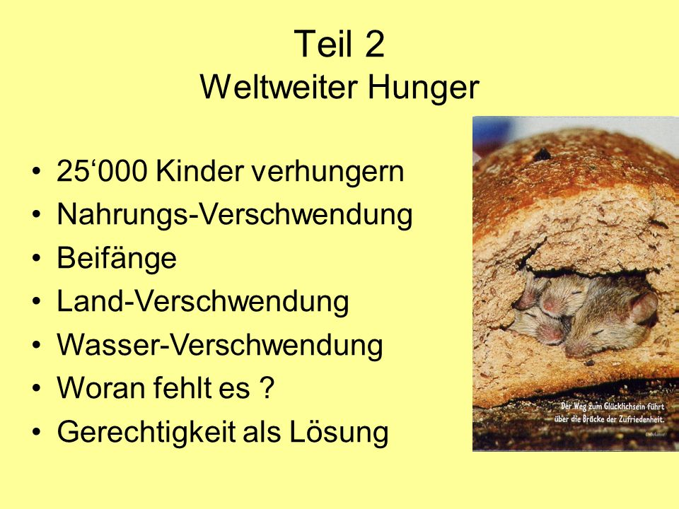 Teil 2 Weltweiter Hunger
