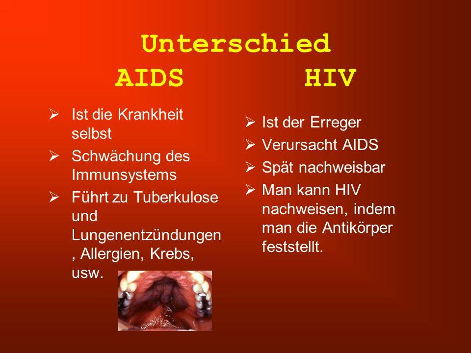 Unterschied AIDS HIV Ist die Krankheit selbst Ist der Erreger