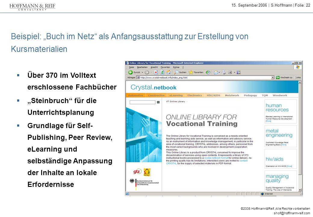 """Beispiel: """"Buch im Netz als Anfangsausstattung zur Erstellung von Kursmaterialien"""