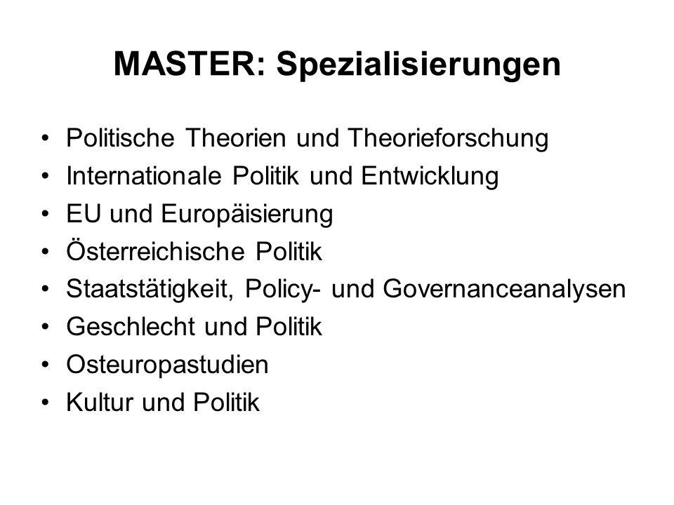 MASTER: Spezialisierungen