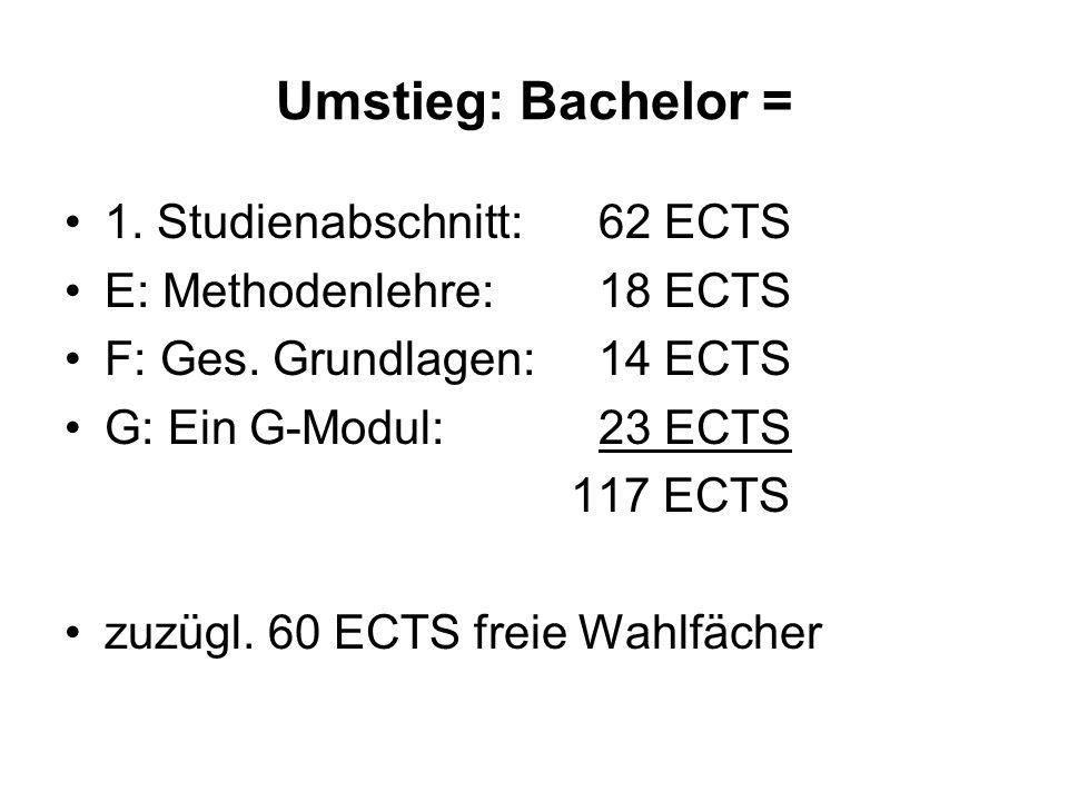 Umstieg: Bachelor = 1. Studienabschnitt: 62 ECTS