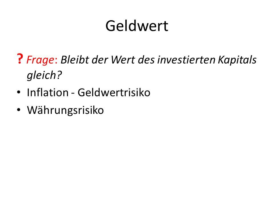 Geldwert Frage: Bleibt der Wert des investierten Kapitals gleich