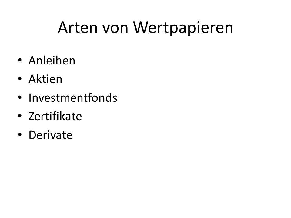 Arten von Wertpapieren