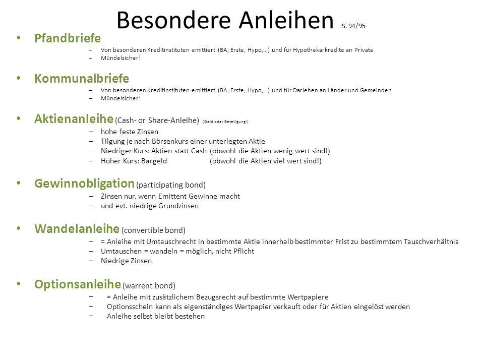 Besondere Anleihen S. 94/95 Pfandbriefe Kommunalbriefe