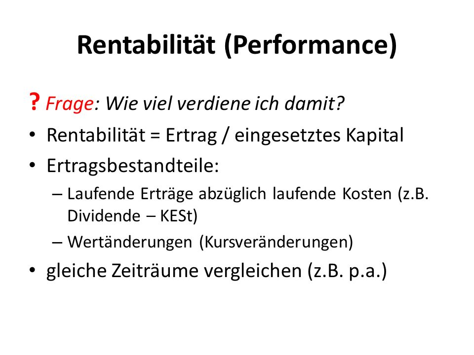 Rentabilität (Performance)