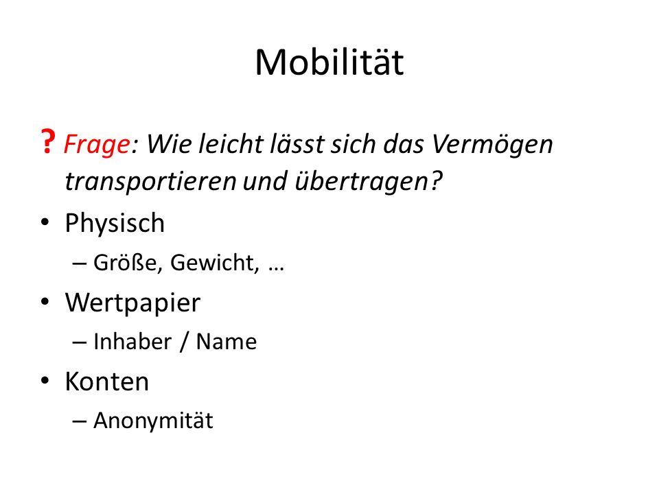 Mobilität Frage: Wie leicht lässt sich das Vermögen transportieren und übertragen Physisch. Größe, Gewicht, …