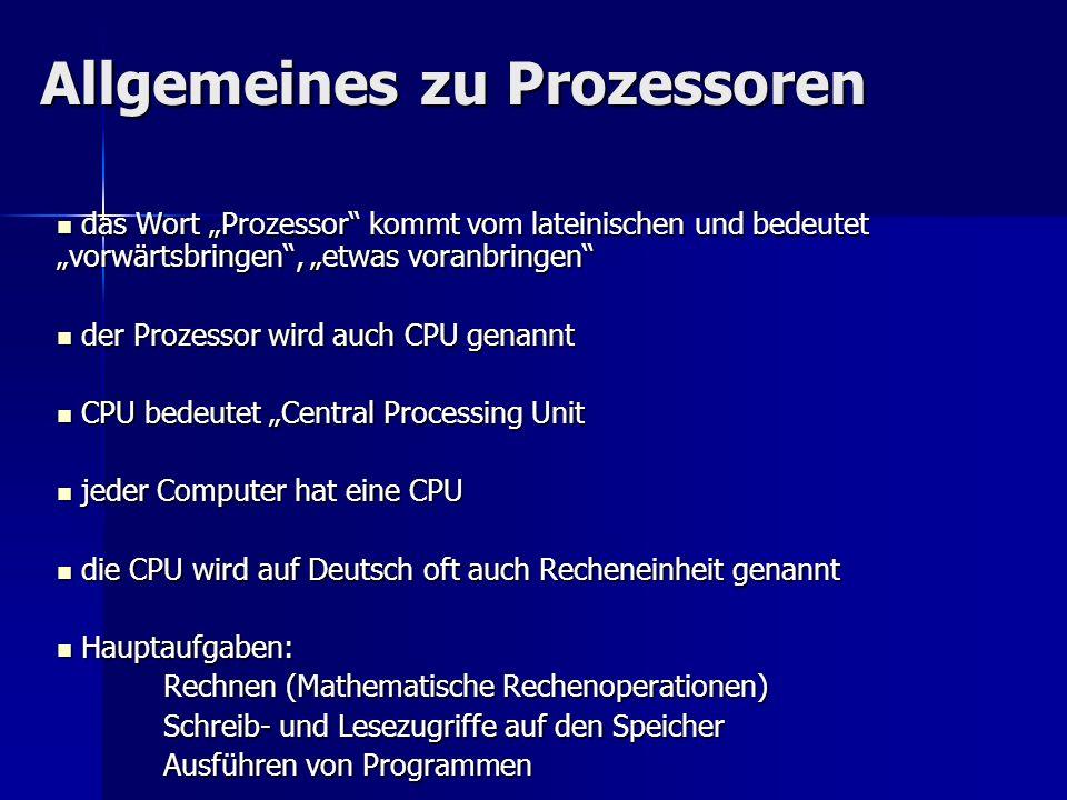 Allgemeines zu Prozessoren