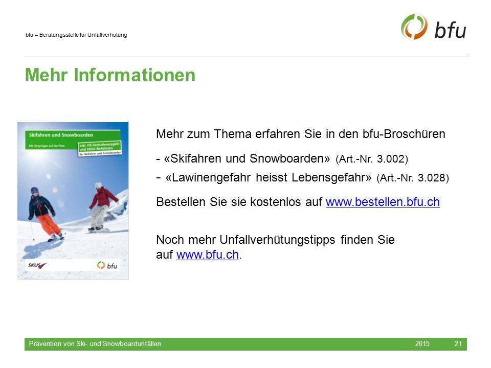 Mehr Informationen Mehr zum Thema erfahren Sie in den bfu-Broschüren. «Skifahren und Snowboarden» (Art.-Nr. 3.002)