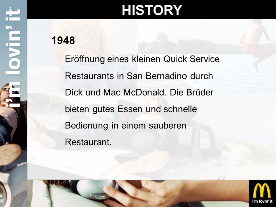 HISTORY 1948 Eröffnung eines kleinen Quick Service