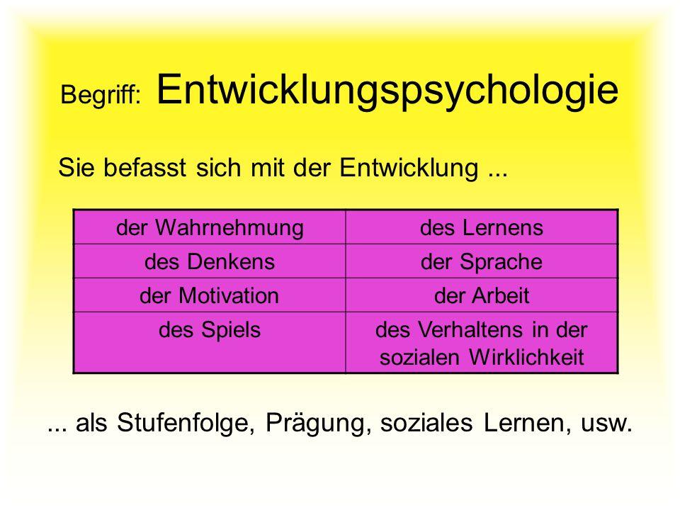 Begriff: Entwicklungspsychologie