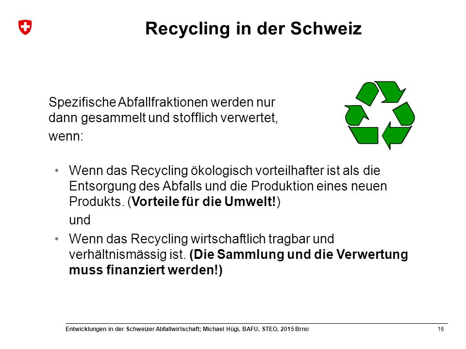Recycling in der Schweiz
