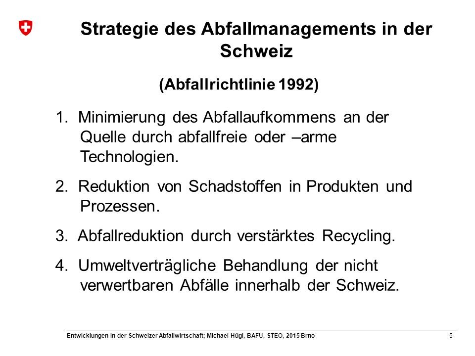 Strategie des Abfallmanagements in der Schweiz
